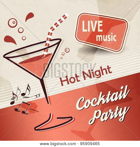 Party background poster with cocktail glass and banner ad