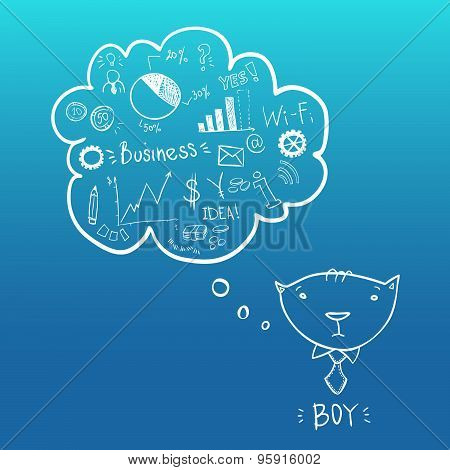 Cat boy is businessman with thoughts of success. Illustration. Vector. Speech bubbles