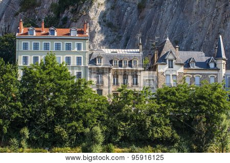 Ancient Houses On The Background Of Mountains In Grenoble, France