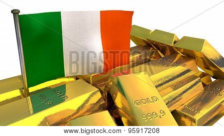 Irish economy concept with gold bullion