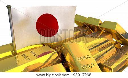 Japanese economy concept with gold bullion