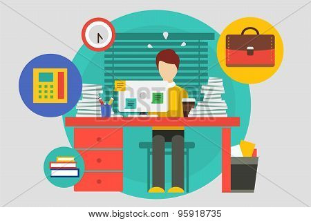 Stress in the office illustration. Hard work and business man. Stock design elements.