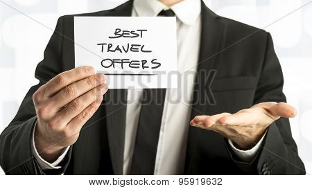 Businessman With Best Travel Offers Texts On Paper