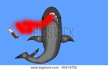 man eating shark