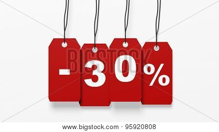 Red hanging sales tags with thirty percent discount isolated on white background