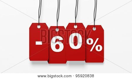 Red hanging sales tags with sixty percent discount isolated on white background