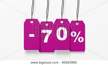 Pink hanging sales tags with seventy percent discount isolated on white background