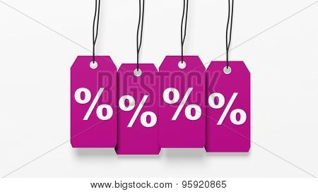 Pink hanging sales tags with percentage sign isolated on white background