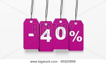 Pink hanging sales tags with forty percent discount isolated on white background