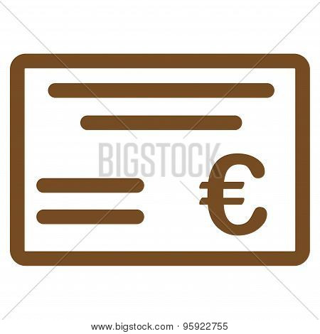 Cheque Flat Icon From Bicolor Euro Banking Set