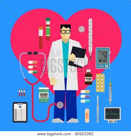 Doctor and medical tools