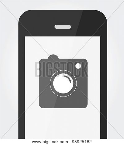 Photo and phone logotype concept isolated on white background for business design.