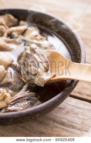Beef Noodle Soup,close Up Of A Wooden Bowl