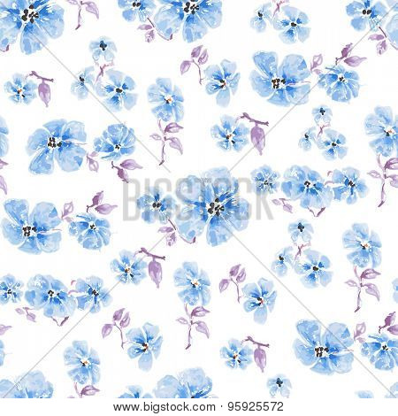 Watercolor blue flowers seamless pattern over white