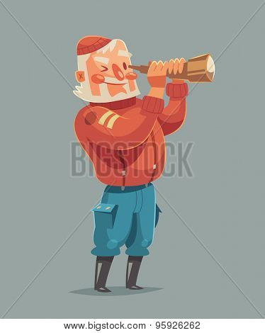 Sea captain. Vector illustration.