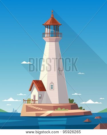 Lighthouse on the rock. Vector illustration.
