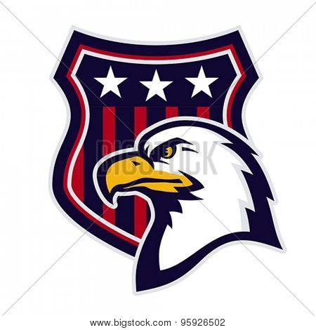 Mascot with American eagle and heraldic shield. Vector format EPS 8, CMYK.