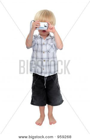 Isolated Photo Of Young Boy Taking A Photograph