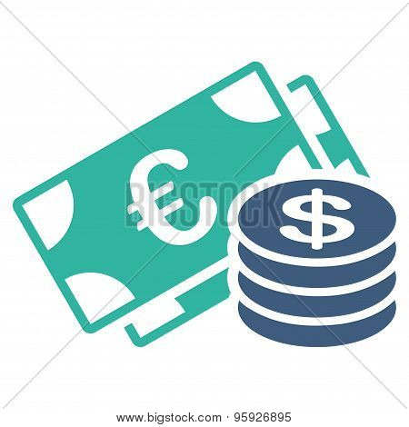 Dollar coins icon from BiColor Euro Banking Set