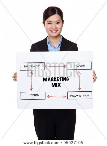 Businesswoman with white palcard for showing marketing mix concept