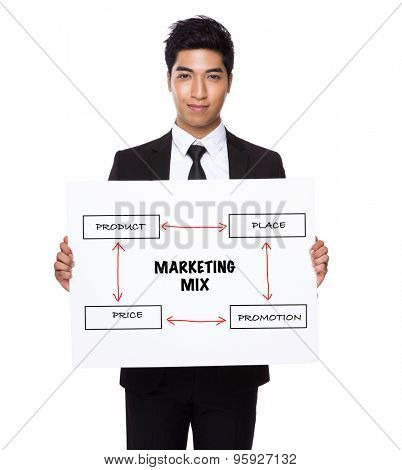 Businessman hold with white card board presenting marketing mix concept