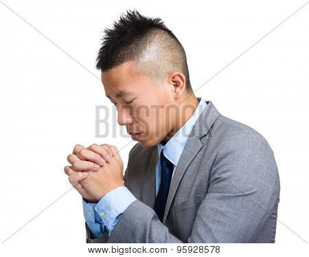 Asian Businessman hope with arm crossed