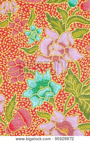 Flower Pattern Background On Batik Fabric.