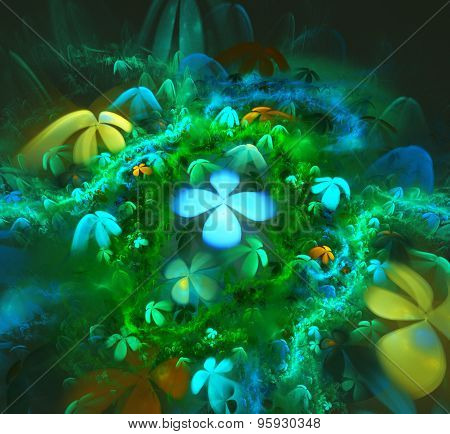Illustration Background Fractal Bright Blue Fields Of Flowers