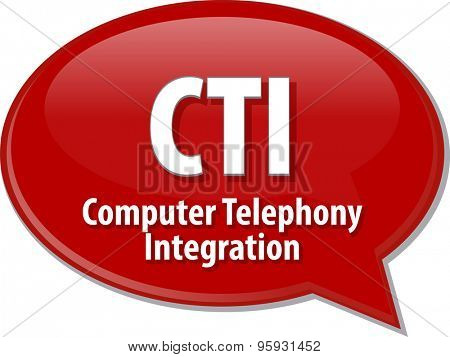 Speech bubble illustration of information technology acronym abbreviation term definition CTI Computer Telephony Integration