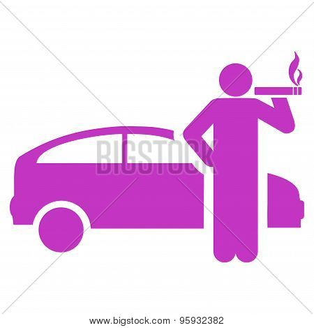 Smoking taxi driver icon from Business Bicolor Set