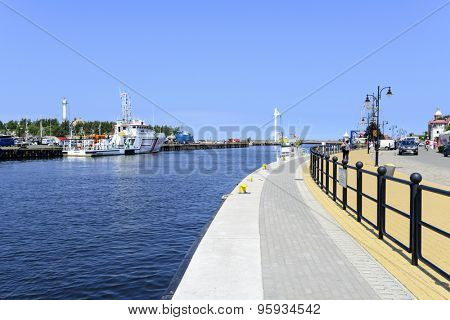 USTKA - JULY 07: View of the river Slupia with promenade and marina on 7 July 2015 in Ustka, Poland.