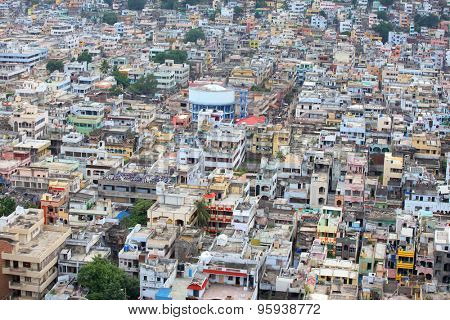 Aerial view of Vijayawada city in India, August 29,2012 in Vijayawada, India.The Andhra Pradesh state government would make a new capital city for the truncated state in the areas around Vijayawada