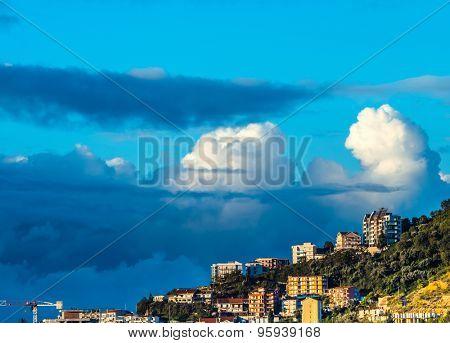 City on sky background