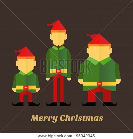 Three Christmas Elf In Various Sizes