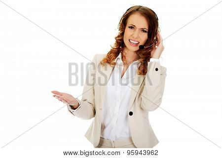Frustrated call center woman talking with customer.