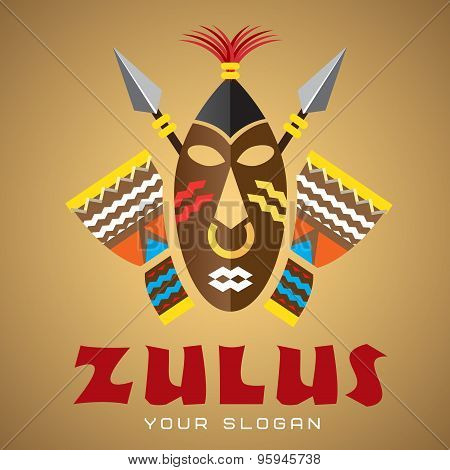 Logo template, vector, african mask with spears and drums