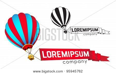 Logo template, flying balloon with a banner