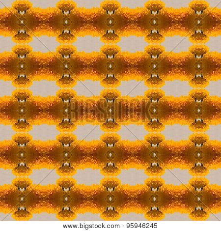 Marigold Yellow Flowers Arranged In Herringbone Seamles