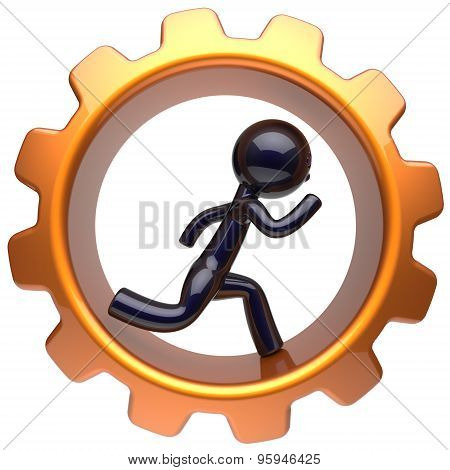 Man Character Running Inside Gearwheel Businessman Icon