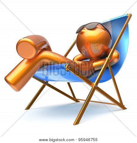 Man Character Beach Deck Chair Relaxing Carefree Comfort