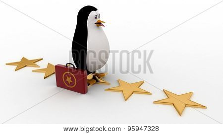 3D Penguin Walking On Stars With Briefcase Concept