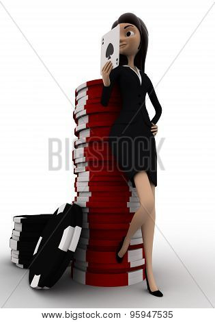 3D Woman With Casino Coin And Playing Card Concept