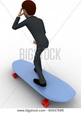 3D Man Skating On Skateboard Concept