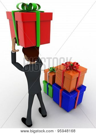 3D Man Holding Gift On Head And With Many Other Gifts Concept