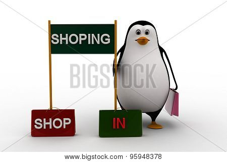3D Penguin With Shopping, Shop And In Sign Board Concept