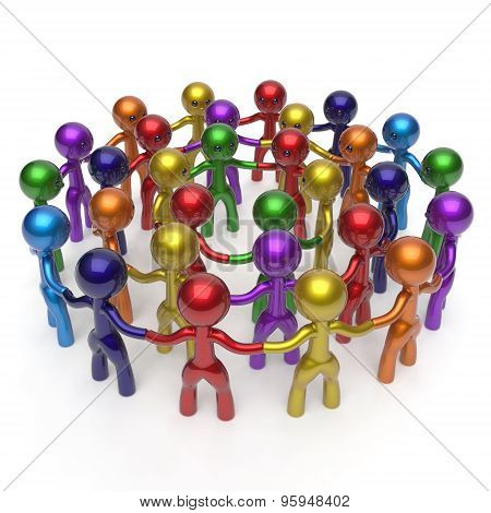Men Characters Large Circle Crowd Social Network Concept