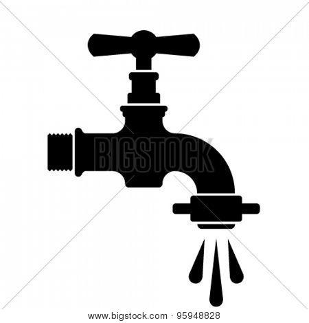 vector black retro water faucet tap symbol