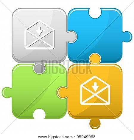 mail downarrow. Vector puzzle.