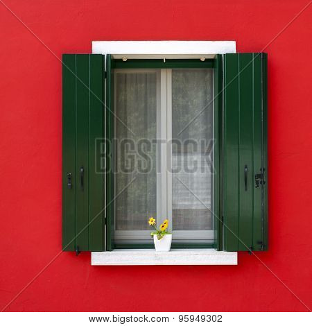 Colorful Window With Flower Pot In Burano
