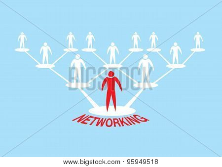 Human Icon Networking Hierarchy Vector Illustration